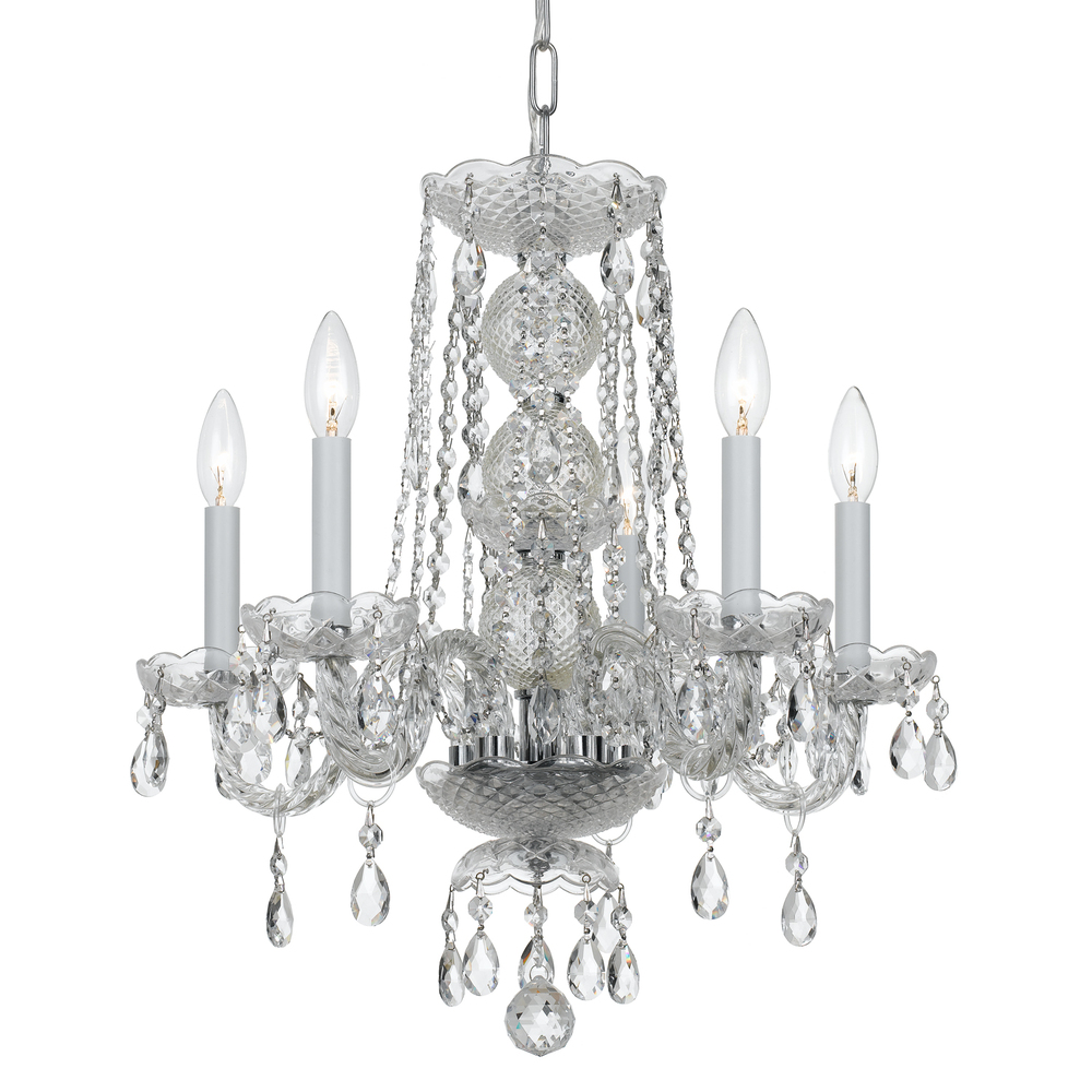 Crystorama traditional crystal 5 light clear crystal chrome mini crystorama traditional crystal 5 light clear crystal chrome mini chandelier aloadofball Images