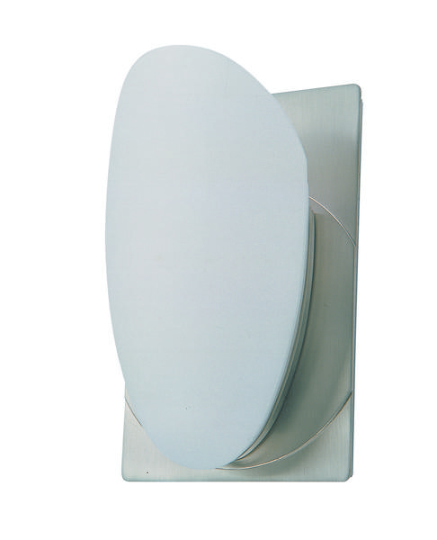 One Light Satin Nickel Half Opal Glass Wall Light