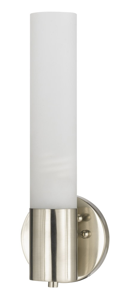 "12"" Tall Cylinder Wall Light In Brushed Steel"
