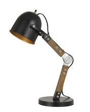CAL Lighting BO-2757DK - 60W Binimi Adjustable Wood/Metal Desk Lamp With Metal Shade