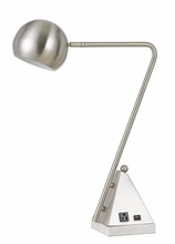 CAL Lighting BO-2763DK - 60W Delta Metal Desk Lamp With Marble Base, 1 Electrical Outlet And 1 USB Outlets