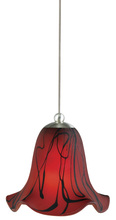 "CAL Lighting UP-973/6-BS - 4.7"" Tall Glass And Metal Pendant With Brushed Steel Cord"